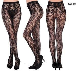 Floral Design Pantyhose Stockings  (FAB-19417)